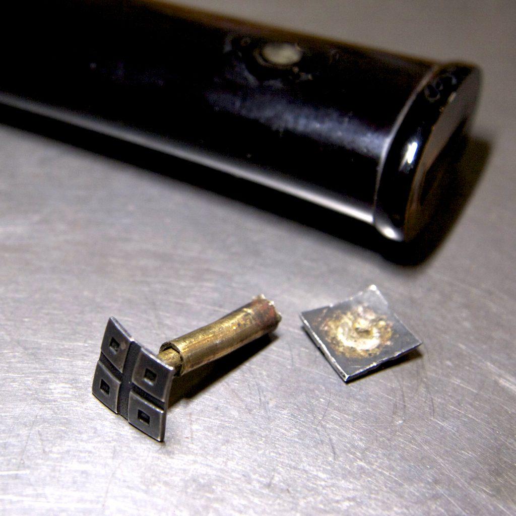 目釘金具の修理 2 - ロウ付け –